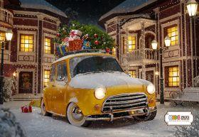 "Фон стена ""Christmas car"" 2x1.5"